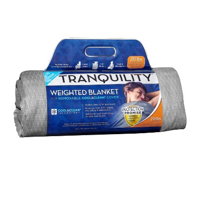 """48""""x72"""" 15lbs Cooling Weighted Blanket Gray - Tranquility"""