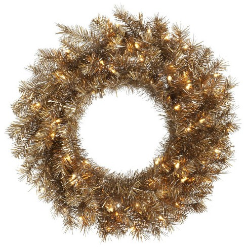 "36"" Pre-Lit Christmas Metal Mix Tinsel Wreath - Clear Lights - image 1 of 1"