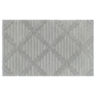 Sculpted Stripe Bath Rug Gray/Silver - Nate Berkus™