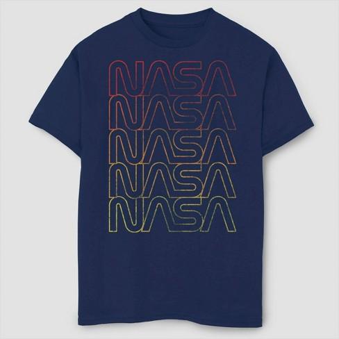 Boys' NASA Lined Logo Gradient T-Shirt - Navy - image 1 of 2