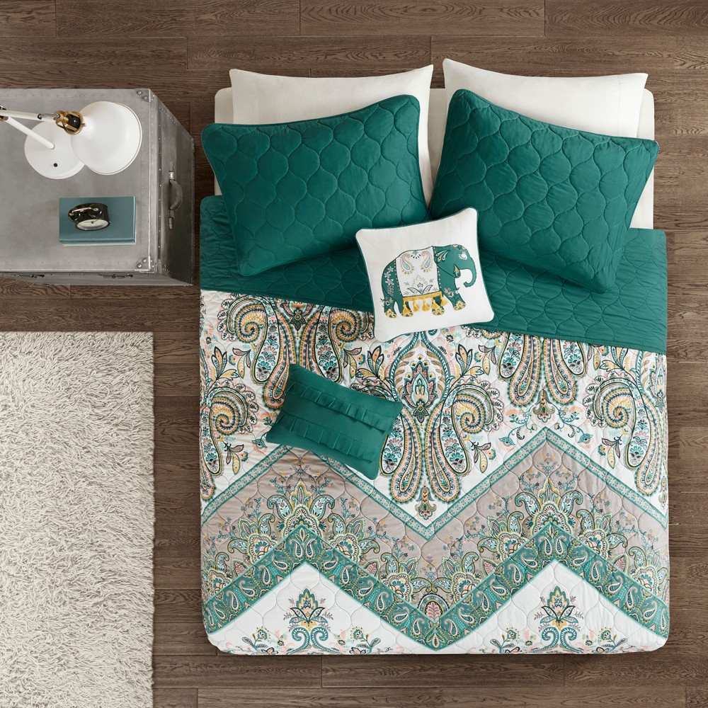 Image of 5pc Full/Queen Allura Printed Coverlet Set Teal (Blue)
