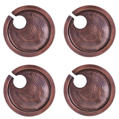 """Old Dutch 9.8"""" 4pk Stainless Steel Hammered Buffet Plates with Wine Glass Holders Copper"""