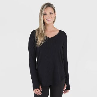 Wander by Hottotties Women's Waffle Collection Lea Long Sleeve V-Neck - Black L