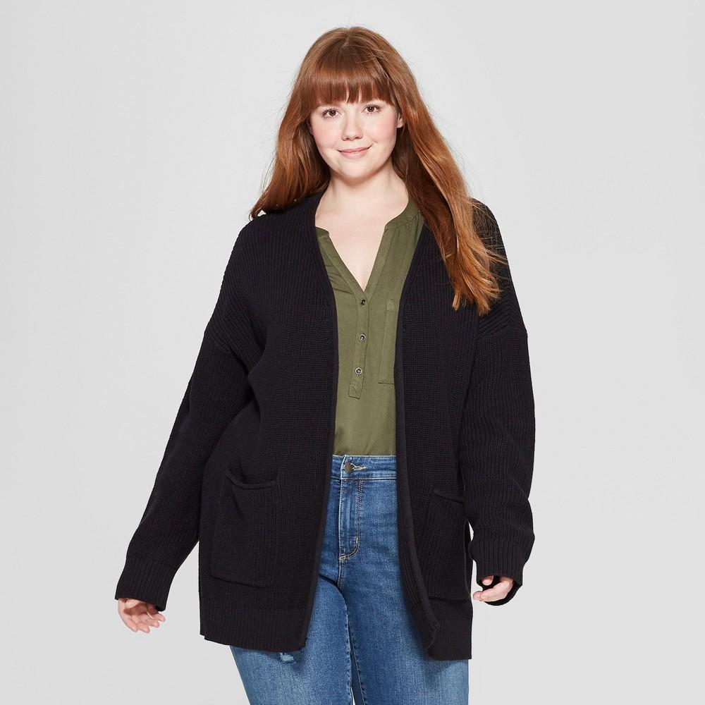 Women's Plus Size Long Sleeve Open Layering Cardigan - Universal Thread Black X