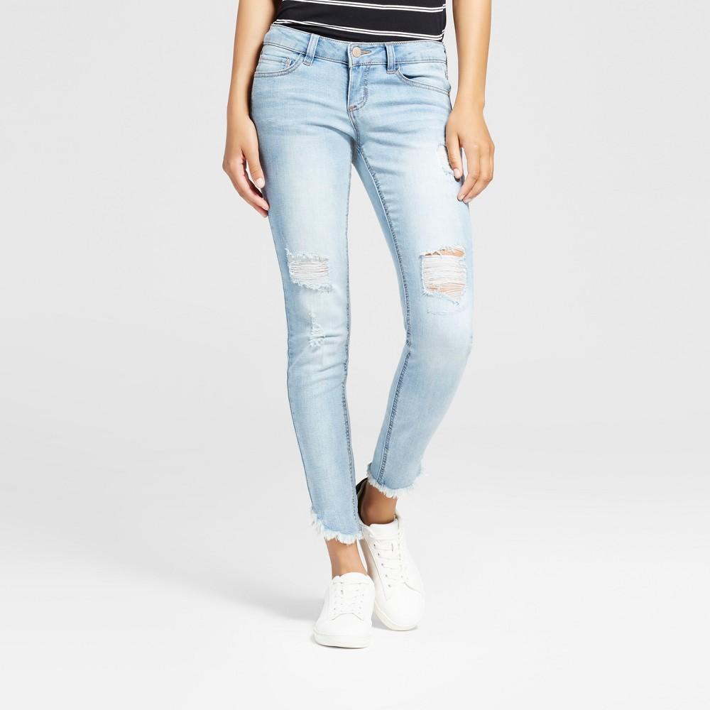 Women's Destructed Frayed Hem Crop Skinny Jeans - Dollhouse (Juniors') - Light Blue 7