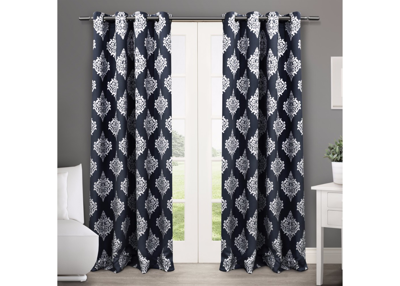 Set of 2 / Pair Medallion Blackout Thermal Grommet Top Window Curtain Panels Exclusive Home - image 1 of 5