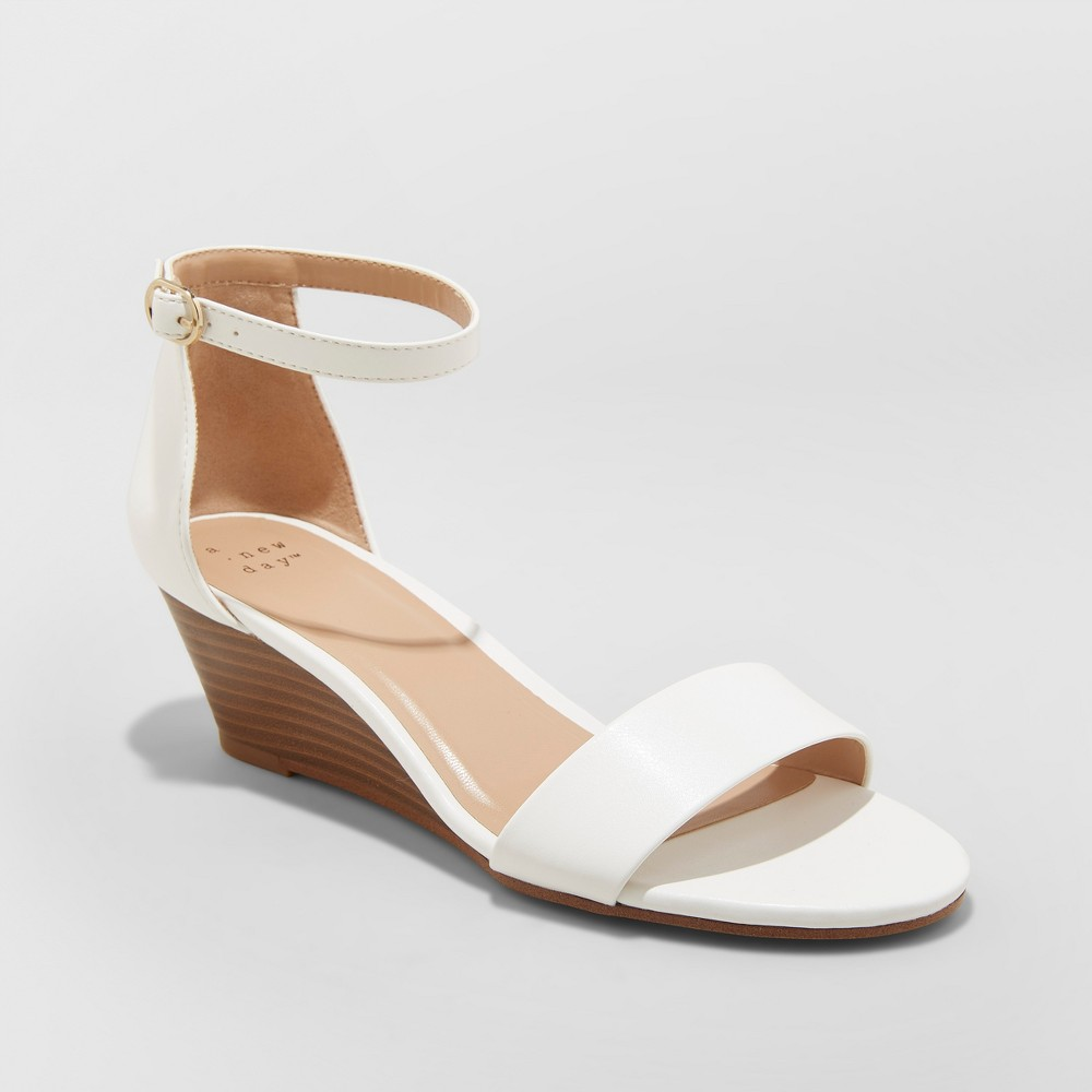Women's Wilda Strappy Sliver Wedge Ankle Strap Sandal - A New Day White 11