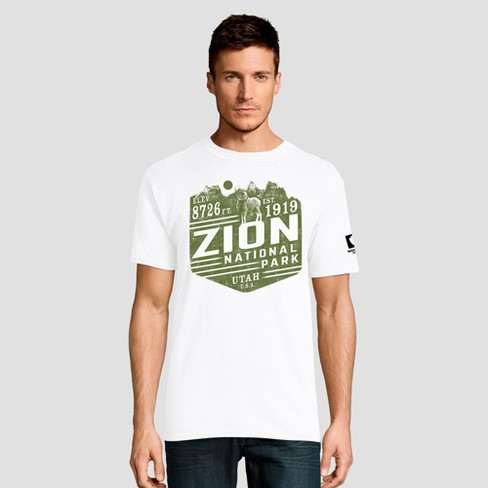 Hanes Men's Short Sleeve National Parks Zion Graphic T-Shirt - White - image 1 of 5