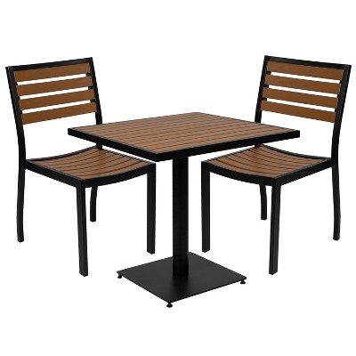 Emma and Oliver Outdoor Patio Bistro Dining Table Set with 2 Chairs and Faux Teak Poly Slats