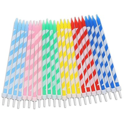 Blue Panda 48 Pack 6-Color Striped Long Thin Birthday Cake Candles 5-Inch with Holders