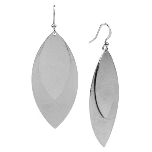 Medium and Large Oval Drop Earring - Silver - image 1 of 1