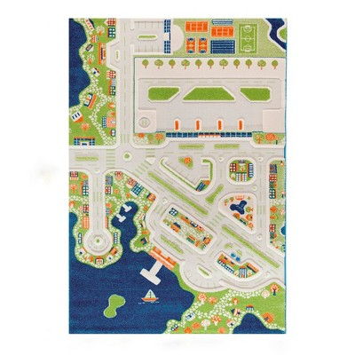 IVI 3D Play Carpets 121MD034150220 86 x 59 Inch Mini City Educational Mat Rug for Bedroom, Kids Den, or Playroom, Extra Large