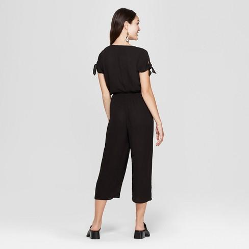 5dd09f66ba70 Women s Tie Short Sleeve Jumpsuit - Soul Cake (Juniors ) Black   Target