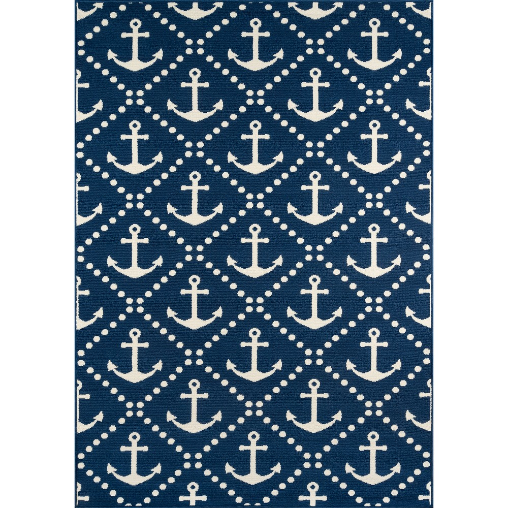 Anchor Trellis Rug - Navy (Blue) - (1'8