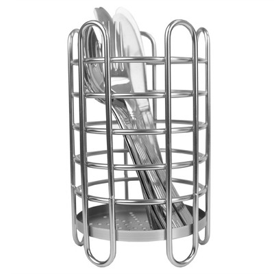 Home Basics Simplicity Collection Free-Standing Utensil  and Cutlery Holder with Quick Draining Holes, Satin Chrome