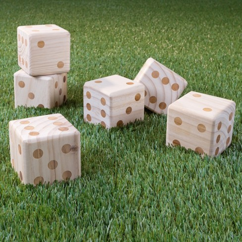 Hey! Play! Giant Wooden Yard Dice With Bag - 7pc - image 1 of 6
