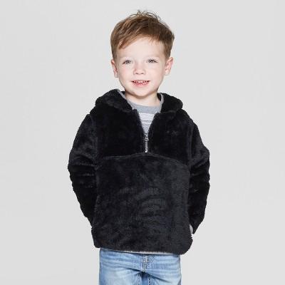 Toddler Boys' Teddy Bear Fleece Hoodie - Cat & Jack™ Black 2T