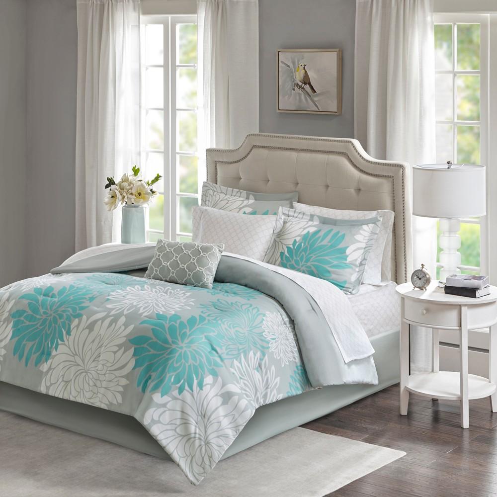 9pc Queen Calla Comforter And Cotton Sheet Set Aqua