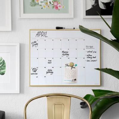 Ubrands Dry Erase Calendar, Aluminum Frame, 16  x 20  - Silver/Gold
