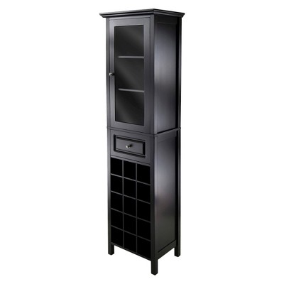 Wine Cabinet Wood/Black - Winsome