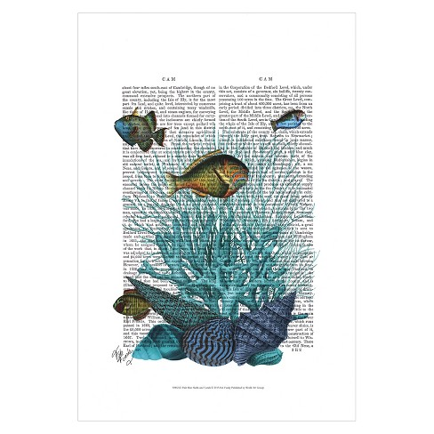 Fish Blue Shells and Corals by Fab Funky Unframed Wall Art Print - image 1 of 2