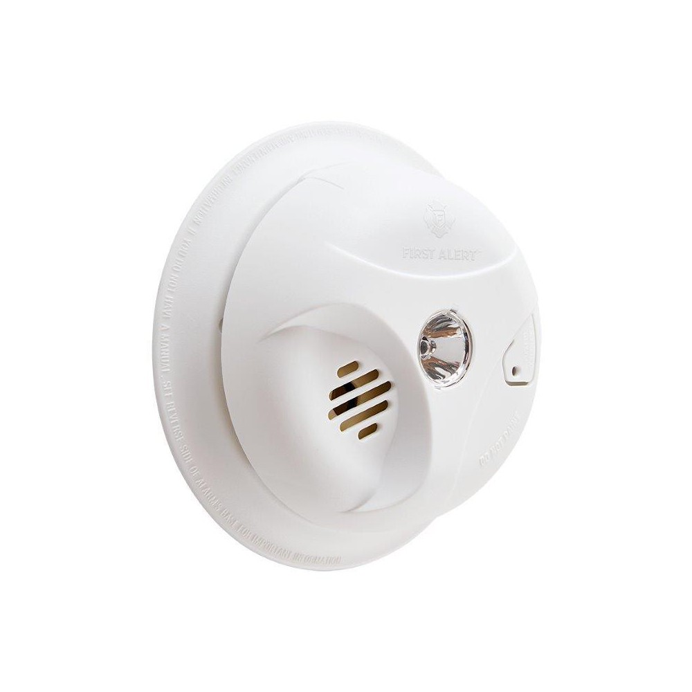 First Alert Battery Operated Smoke Alarm With Escape Light From Burglar Powered By