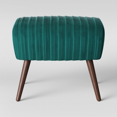 Laurel Ruched Ottoman with Cone Legs - Velvet Teal - Opalhouse™
