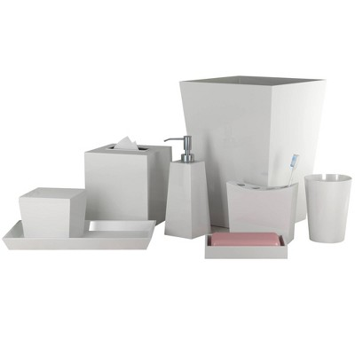 8pc Elegant Resin Bath Accessory Set for Vanity Counter Tops White - Nu Steel