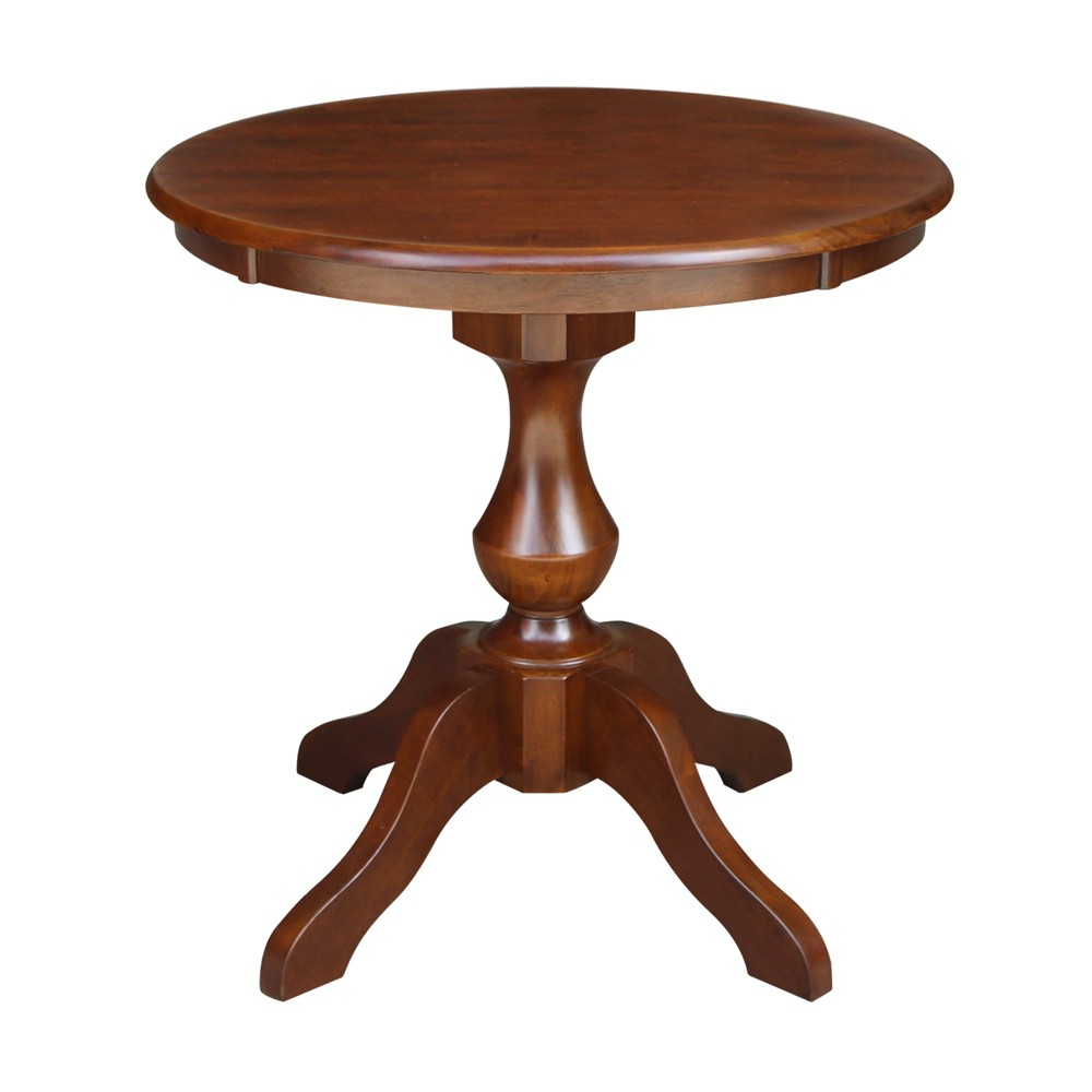 30 Nell Round Top Pedestal Table Dining Height Espresso - International Concepts, Brown