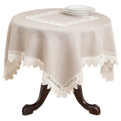 Taupe Lace Trimmed Tablecloth (72 )- Saro Lifestyle