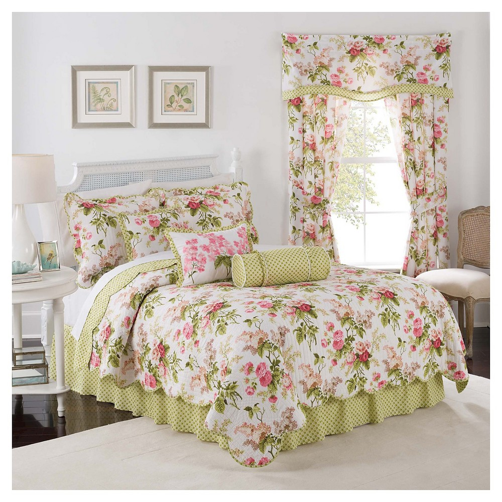 Waverly Emma's Garden 3 Piece Quilt Set - Green/Pink (Twin)