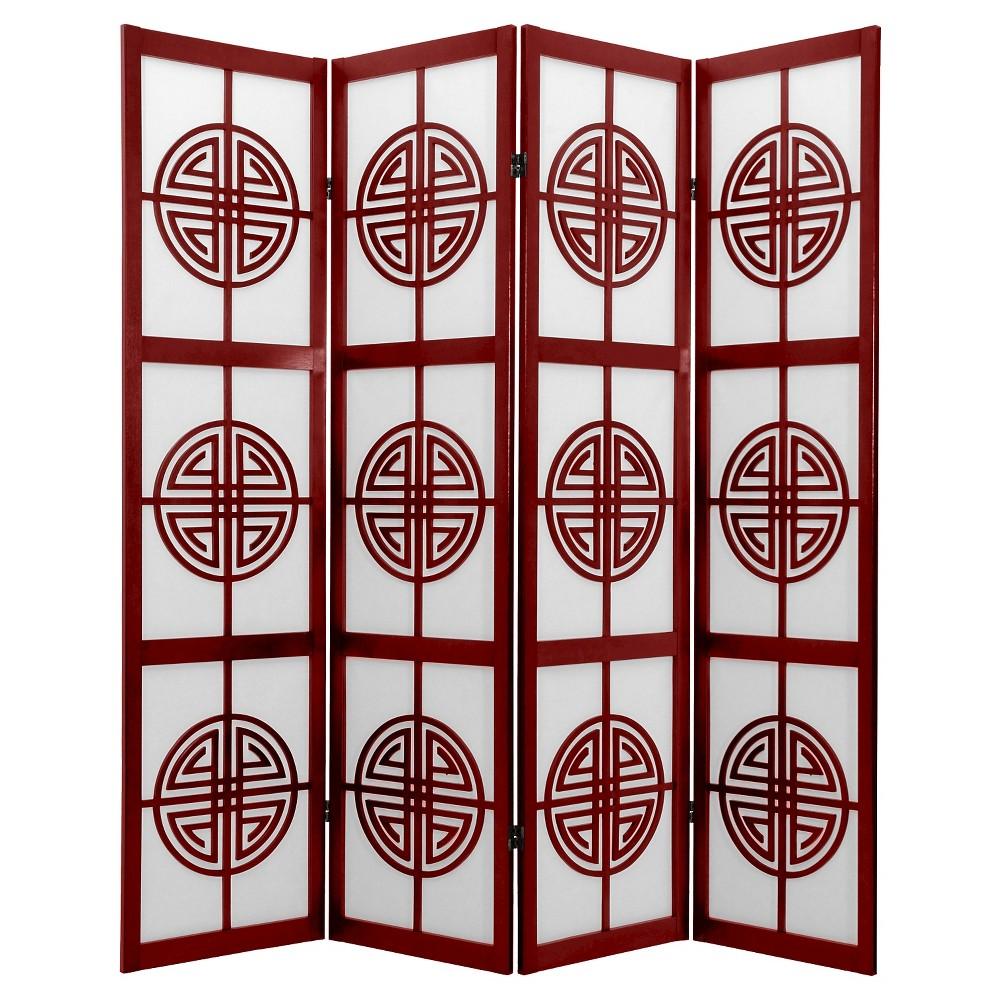 6 ft. Tall Long Life Shoji Screen - Rosewood (4 Panels)