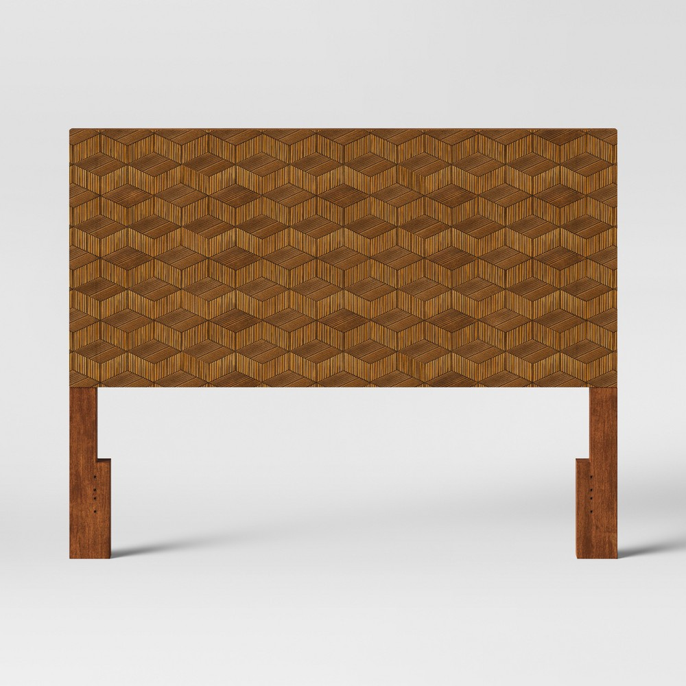 Queen Tachuri Geometric Front Headboard Brown - Opalhouse was $199.99 now $99.99 (50.0% off)
