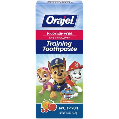 Orajel PAW Patrol Fluoride-Free Training Toothpaste Fruity Fun - 1.5 oz.