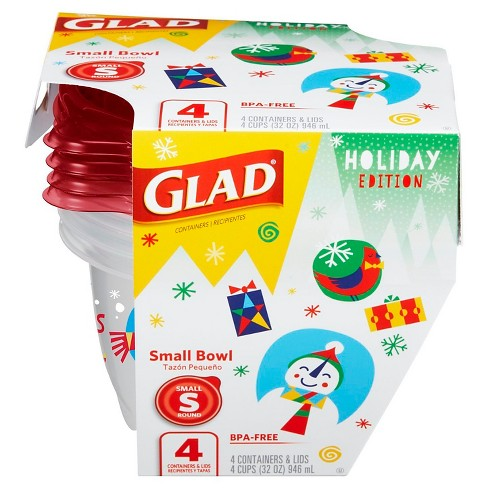 Glad Holiday Food Storage Containers Small Bowl 32 oz 4 ct - image 1 of 5