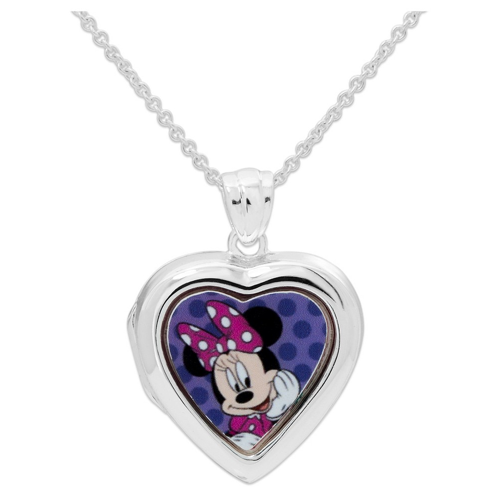 Kid's Disney Silver Plated Minnie Mouse Locket Pendant Necklace, Girl's