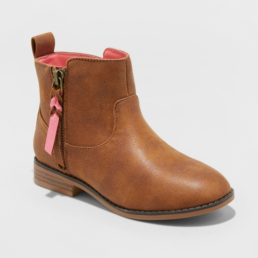 Girls' Asha Western Ankle Boots - Cat & Jack Cognac 5, Brown