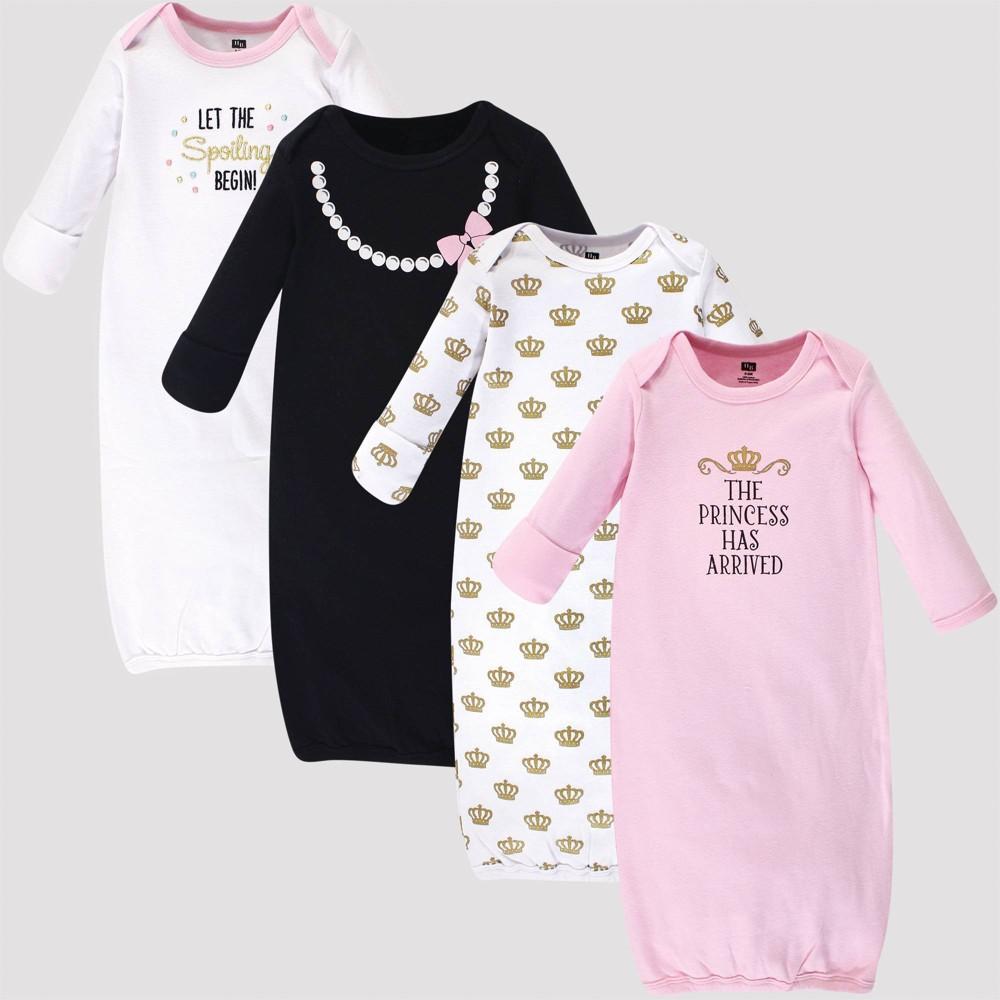 Image of Hudson Baby Girls' 4pk Organic Cotton Princess Gown - Pink 0-6M, Kids Unisex, Size: Small