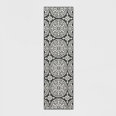 Gray Medallion Tufted and Hooked Washable Runner 2'X7' - Threshold™
