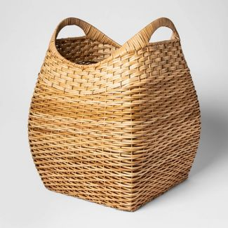 """Large Basket with Curved Handles Natural Khaki 19.75""""x15.75"""" - Threshold™"""