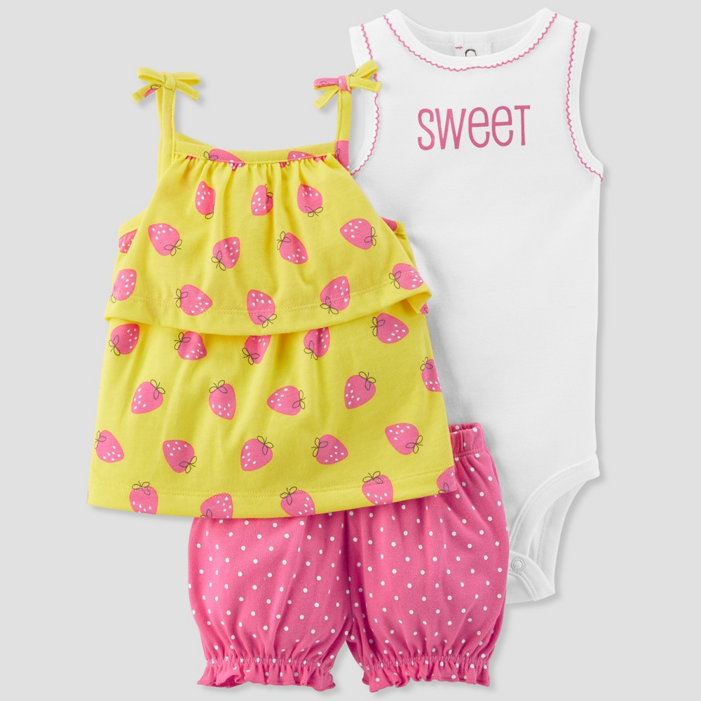 Baby Girls' 3pc Strawberry Dot Set - Just One You made by carter's Pink 3M, Yellow