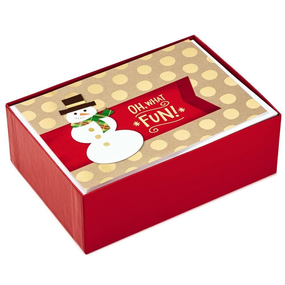 Image of 40ct Hallmark Snowman and Christmas Tree Greeting Cards