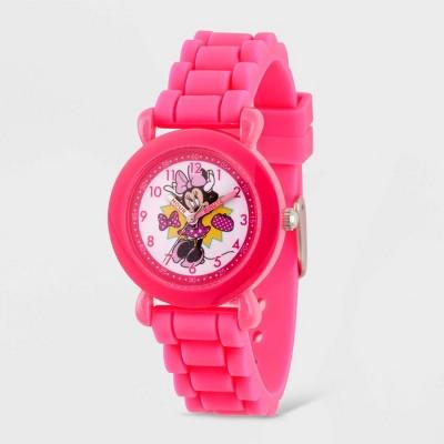 Girls' Disney Minnie Mouse Plastic Time Teacher Watch - Pink