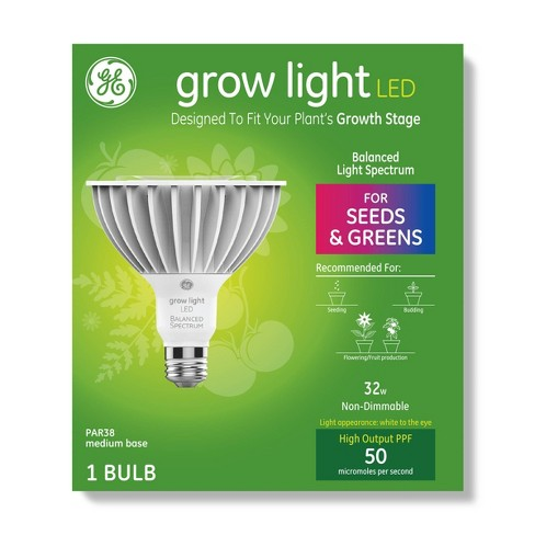 General Electric PAR38 Grow Light With Balanced Spectrum Seeds & Greens LED Light Bulb Clear - image 1 of 4
