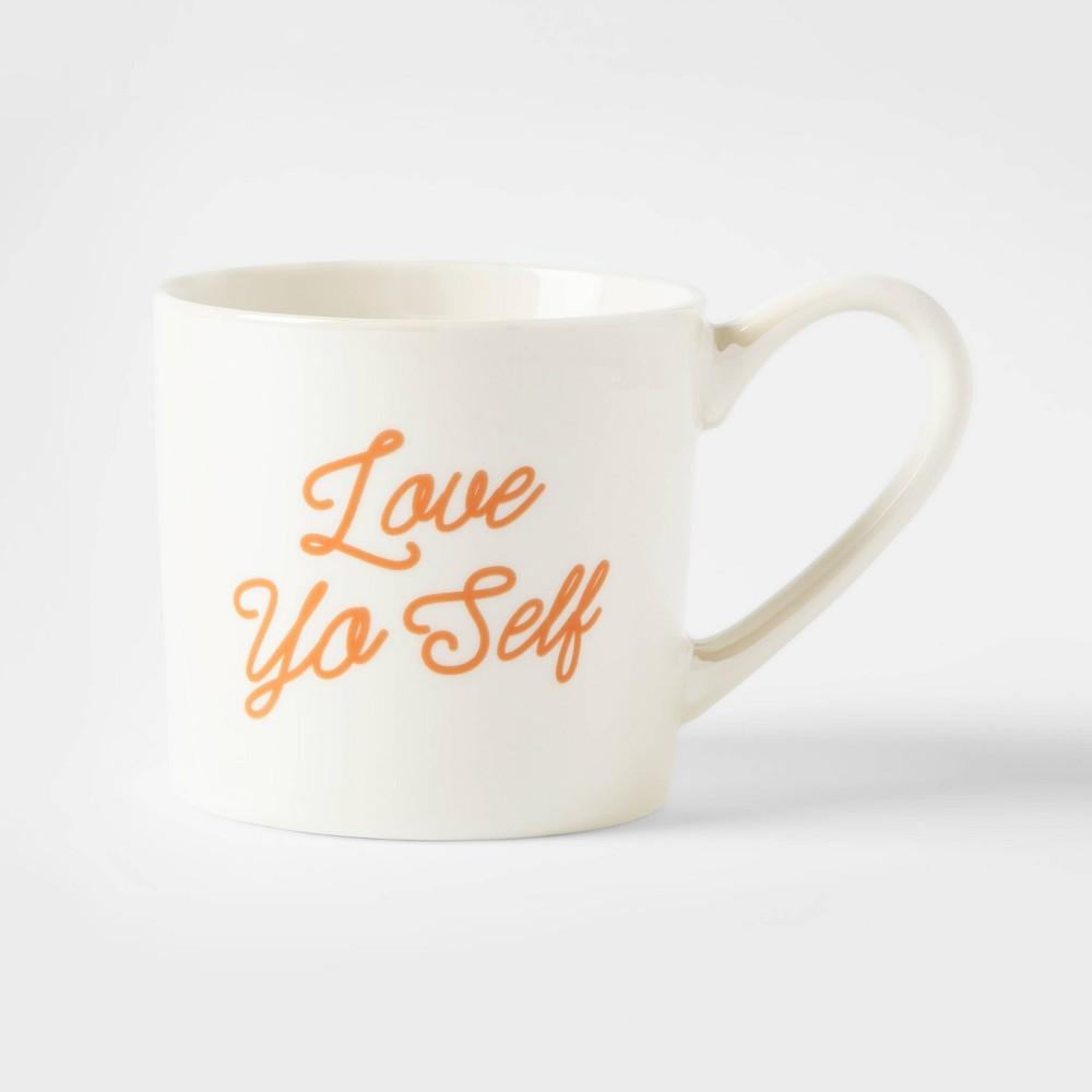 12oz Porcelain Love Yo' Self Mug Cream (Ivory) Threshold