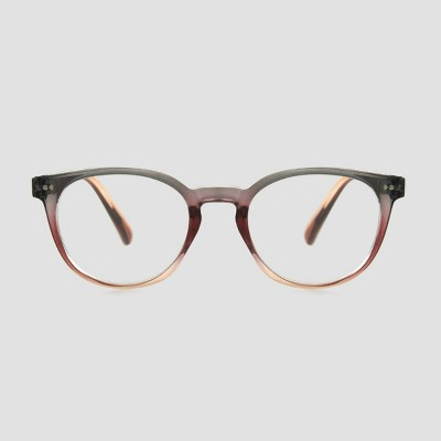 Women's Crystal Round Blue Light Filtering Glasses - A New Day™ Gray/Pink