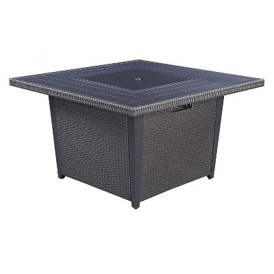 Kinger Home 42 Inch Square Propane Gas Outdoor Backyard 50,000 BTU Patio Fire Pit Table with Wind Guard, Fire Beads, & Rain Cover, Slate Grey