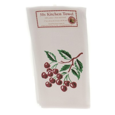 """Tabletop 24.0"""" Cherry Flour Sack Towel 100% Cotton Fruit Retro Summer Red And White Kitchen Company  -  Kitchen Towel"""
