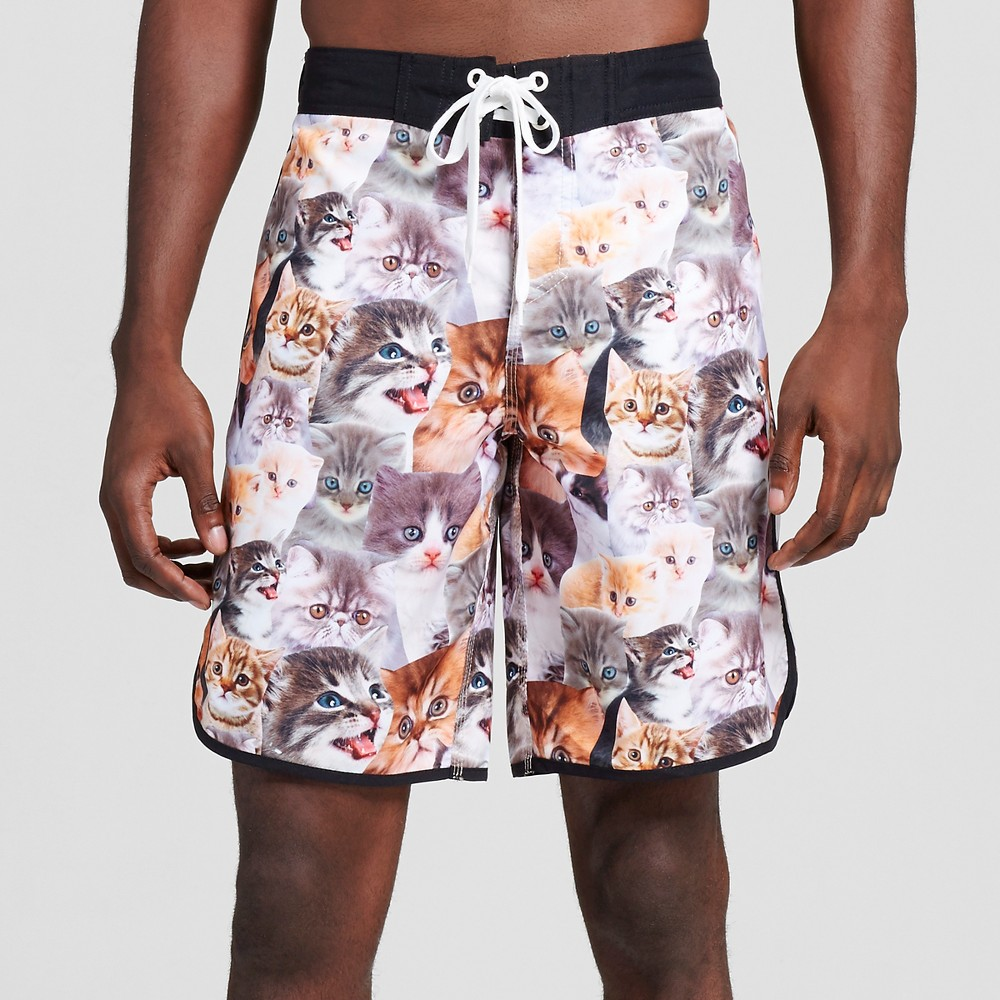"Image of ""Men's 10"""" Cats Board Shorts - Brown L, Size: Large"""
