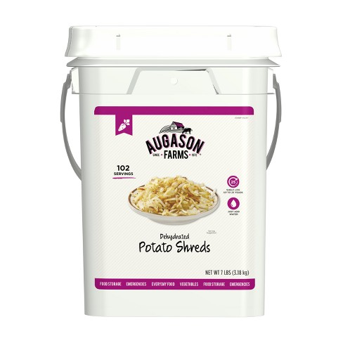 Augason Farms Dehydrated Potato Shreds Certified Gluten Free Emergency Bulk Food Storage 4-Gallon Pail 102 Servings - image 1 of 7
